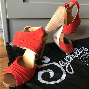 Orange suede open toe high heel sandals